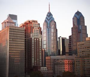 A View of Downtown Philadelphia from Rittenhouse Square